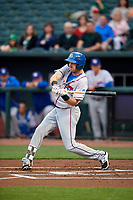 Round Rock Express right fielder Jared Hoying (30) swings at a pitch during a game against the Memphis Redbirds on April 28, 2017 at AutoZone Park in Memphis, Tennessee.  Memphis defeated Round Rock 9-1.  (Mike Janes/Four Seam Images)