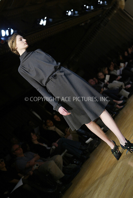 WWW.ACEPIXS.COM . . . . .  ....NEW YORK, FEBRUARY 11, 2005....At model at the Costello Taglia Pietra Fall 2005 show held at the Altman Building.....Please byline: Ian Wingfield - ACE PICTURES..... *** ***..Ace Pictures, Inc:  ..Philip Vaughan (646) 769-0430..e-mail: info@acepixs.com..web: http://www.acepixs.com
