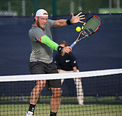 June 13th 2017, Nottingham, England; ATP Aegon Nottingham Open Tennis Tournament day 4;  Sam Groth of Australia plays a volley at the net on his way to victory over Peter Polansky of Canada