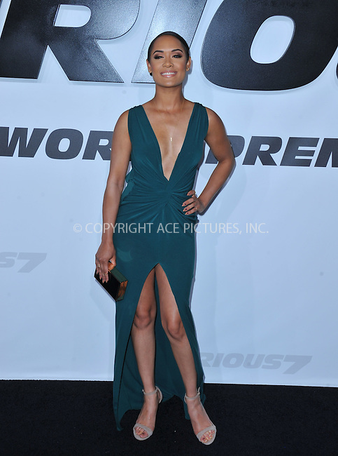 WWW.ACEPIXS.COM<br /> <br /> April 1 2015, LA<br /> <br /> Actress Grace Gealey arriving at Universal Pictures Premiere of 'Furious 7'' at the TLC Chinese Theatre, Hollywood, on April 1, 2015 in Los Angeles.CA <br /> <br /> By Line: Peter West/ACE Pictures<br /> <br /> <br /> ACE Pictures, Inc.<br /> tel: 646 769 0430<br /> Email: info@acepixs.com<br /> www.acepixs.com
