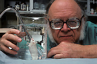 Cincinnati, OH, November 1982. Dr. Leland Clark, Professor of Research Pediatrics at Children's Hospital Research Foundation, showing a mouse breathing underwater thanks to the oxygen contained in Fluosol  - Fluosol is an artificial blood substitute which is milky in color. First tested in the United States in 1982, its recipients being individuals who refused blood transfusions on religious grounds. From 1989 to 1992, Fluosol was used in more than 40,000 human subjects. Due to difficulty with the emulsion storage of Fluosol use (frozen storage and rewarming), its popularity declined and its production ended.