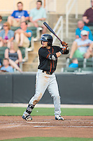 Jay Gonzalez (1) of the Delmarva Shorebirds at bat against the Kannapolis Intimidators at CMC-Northeast Stadium on June 6, 2015 in Kannapolis, North Carolina.  The Shorebirds defeated the Intimidators 7-2.  (Brian Westerholt/Four Seam Images)