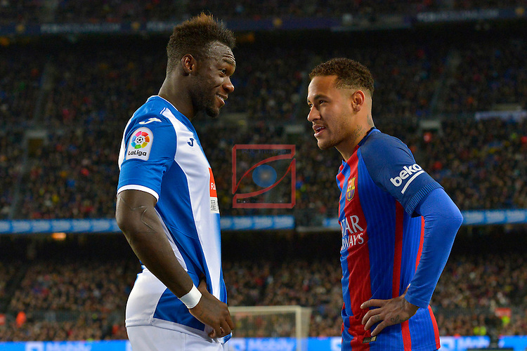 League Santander 2016/2017. Game: 16.<br /> FC Barcelona vs RCD Espanyol: 4-1.<br /> Felipe Caicedo &amp; Neymar Jr.
