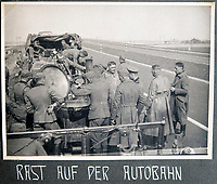 BNPS.co.uk (01202 558833)<br /> Pic: Jones&Jacob/BNPS<br /> <br /> LSSAH 'On the March' up one of Nazi Germany's new Autobahn.<br /> <br /> Springtime for Hitler...Chilling album of pictures taken by one of Hitlers bodyguards illustrates the Nazi dictators rise to power.<br /> <br /> An unseen album of photographs taken by a member of Hitlers own elite SS bodyguard division in the years leading up to the start of WW2.<br /> <br /> The 1st SS Panzer Division 'Leibstandarte SS Adolf Hitler' or LSSAH began as Adolf Hitler's personal bodyguard in the 1920's responsible for guarding the Führer's 'person, offices, and residences'.