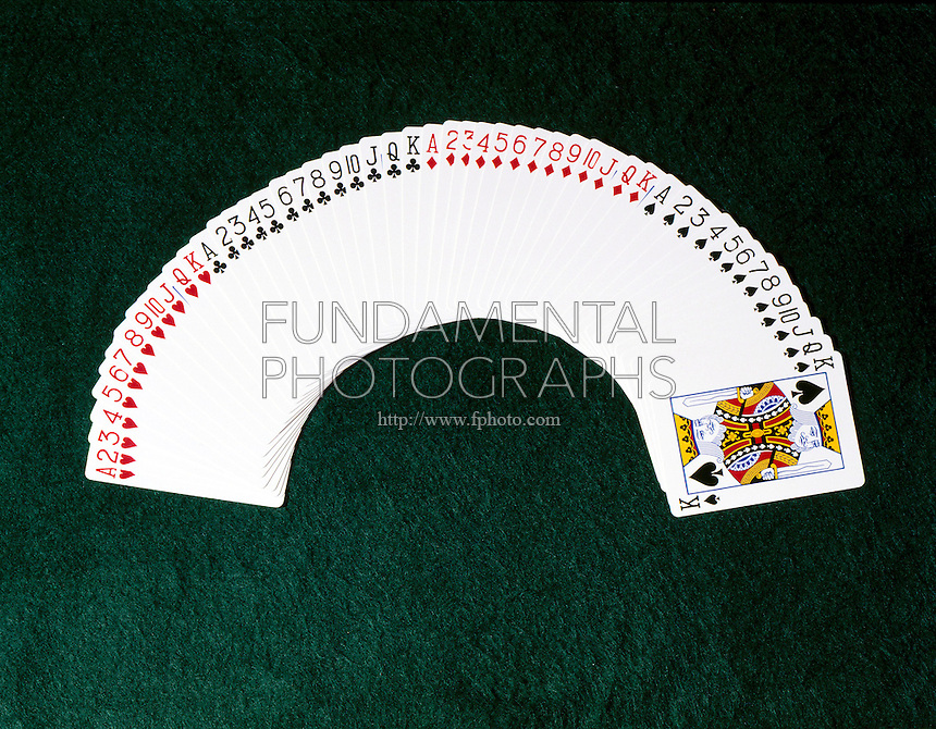 PLAYING CARDS: ARRANGED BY SUIT &amp; RANK<br /> Cards are fanned out