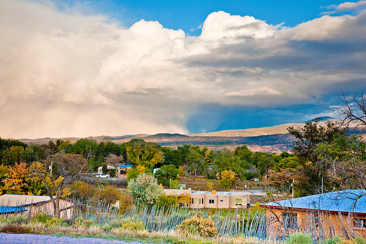 Wait a minute and the sky changes in the fall weather around Pojaoque, New Mexico.