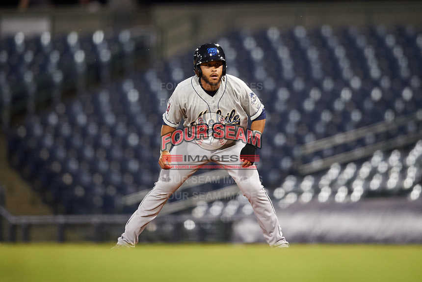 Mobile BayBears designated hitter Jose Rojas (25) leads off first base during a game against the Mississippi Braves on May 7, 2018 at Trustmark Park in Pearl, Mississippi.  Mobile defeated Mississippi 5-0.  (Mike Janes/Four Seam Images)