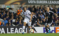 Andros Townsend of Tottenham Hotspur heads forward under pressure from Richard Almeida of Qarabag FK during the UEFA Europa League match between Tottenham Hotspur and Qarabag FK at White Hart Lane, London, England on 17 September 2015. Photo by Andy Rowland.