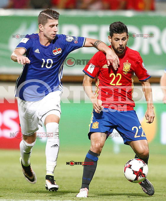 Spain's Nolito (r) and Liechtenstein's Sandro Wieser during FIFA World Cup 2018 Qualifying Round match. September 5,2016.(ALTERPHOTOS/Acero) /NORTEPHOTO