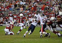 Oct. 16, 2006; Glendale, AZ, USA; Arizona Cardinals kicker (1) Neil Rackers misses the game winning field goal against the Chicago Bears at University of Phoenix Stadium in Glendale, AZ. Mandatory Credit: Mark J. Rebilas