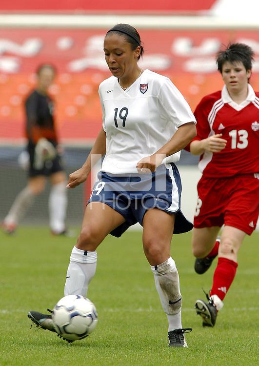 Angela Hucles, USWNT vs Canada April 26, 2003.