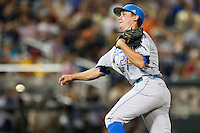 UCLA pitcher David Berg (26) delivers a pitch to the plate against the North Carolina State Wolfpack during Game 8 of the 2013 Men's College World Series on June 18, 2013 at TD Ameritrade Park in Omaha, Nebraska. The Bruins defeated the Wolfpack 2-1, eliminating North Carolina State from the tournament. (Andrew Woolley/Four Seam Images)