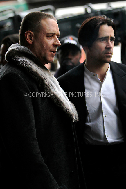 WWW.ACEPIXS.COM......December 12 2012, New York City....Actors Russell Crowe and Colin Farrell on the set of the new movie 'Winter's Tale' on December 12 2012 in New York City......By Line: Nancy Rivera/ACE Pictures......ACE Pictures, Inc...tel: 646 769 0430..Email: info@acepixs.com..www.acepixs.com