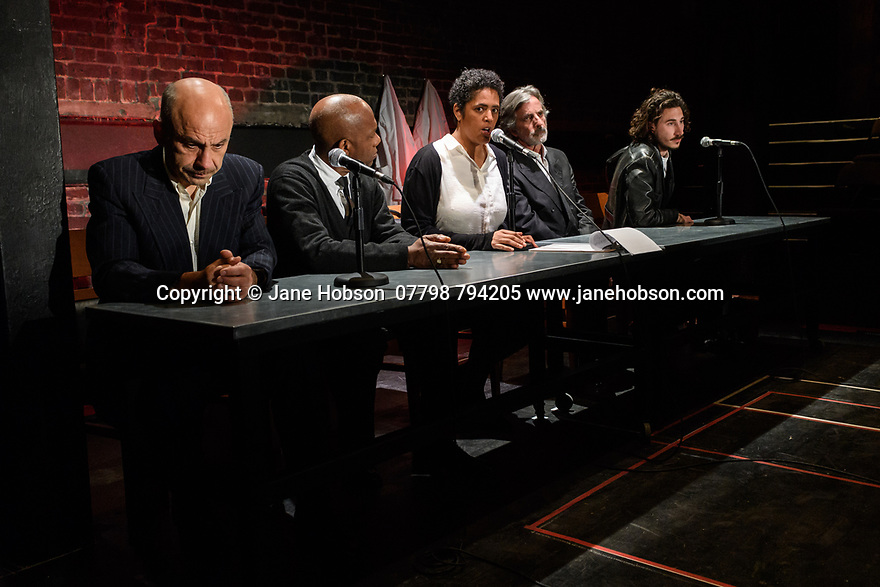"A brand new adaptation of Albert Camus' ""The Plague"" opens at the Arcola Theatre. Adapted and directed by Neil Bartlett. Picture shows: Joe Alessi (Mr Cottard), Burt Caesar (Grand), Sara Powell (Dr Rieux), Martin Turner (Mr Tarrou), Billy Postlethwaite (Mr Rambert)"