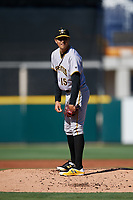 Bradenton Marauders starting pitcher Eduardo Vera (15) looks in for the sign during the first game of a doubleheader against the Lakeland Flying Tigers on April 11, 2018 at Publix Field at Joker Marchant Stadium in Lakeland, Florida.  Lakeland defeated Bradenton 5-4.  (Mike Janes/Four Seam Images)