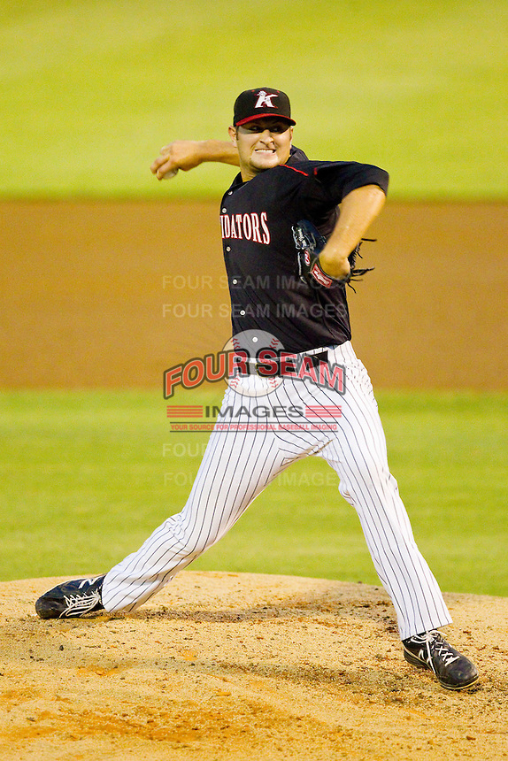 Kannapolis Intimidators relief pitcher Storm Throne (22) in action against the Lexington Legends at CMC-Northeast Stadium on July 30, 2013 in Kannapolis, North Carolina.  The Legends defeated the Intimidators 1-0.  (Brian Westerholt/Four Seam Images)
