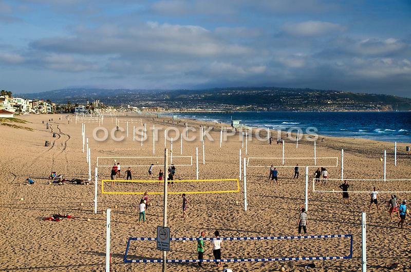 Beach Volleyball Courts on the Shoreline of Manhattan Beach California
