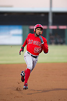 AZL Angels designated hitter Jordon Adell (25) hustles towards third base against the AZL White Sox on August 14, 2017 at Diablo Stadium in Tempe, Arizona. AZL Angels defeated the AZL White Sox 3-2. (Zachary Lucy/Four Seam Images)