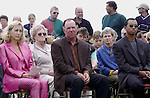 PAYNE STEWART HONOURED IN IRELAND 12-7-00<br /> <br /> © Don MacMonagle, Killarney Ireland 353+87+2563610<br /> <br /> Treacy Stewart, Mark O'Meara and Tiger Woods pictured  at a dedication service to Payne Stewart at Waterville Golf Club, Ireland on Wednesday. Payne was honorary captain at the club for 2000. <br /> Picture by Don MacMonagle