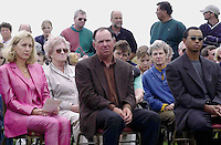 PAYNE STEWART HONOURED IN IRELAND 12-7-00<br /> <br /> &copy; Don MacMonagle, Killarney Ireland 353+87+2563610<br /> <br /> Treacy Stewart, Mark O'Meara and Tiger Woods pictured  at a dedication service to Payne Stewart at Waterville Golf Club, Ireland on Wednesday. Payne was honorary captain at the club for 2000. <br /> Picture by Don MacMonagle