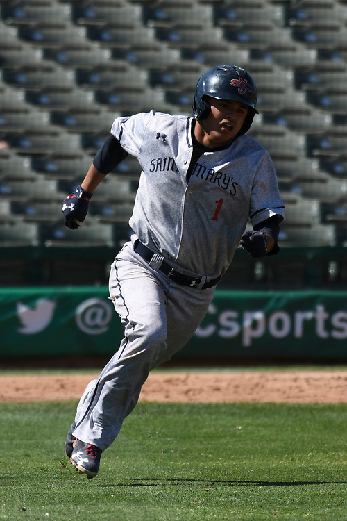 May 25, 2017; Stockton, CA, USA; Saint Mary's Gaels left fielder Brett Rasso during the WCC Baseball Championship at Banner Island Ballpark.