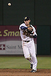 Reno Aces shortstop Chris Owings makes the throw to first against the Sacramento River Cats during their game played on Friday night, April 12, 2013 in Reno, Nevada.