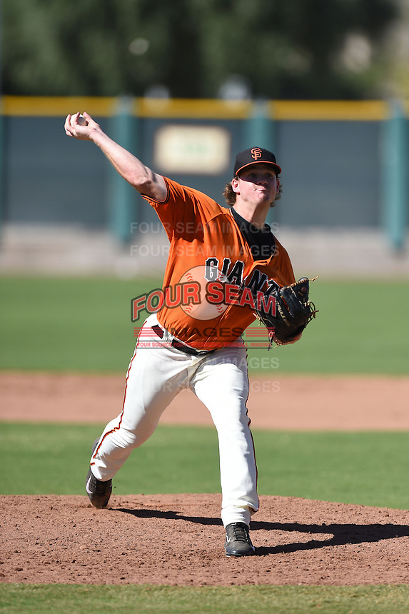 San Francisco Giants pitcher Connor Kaden (38) during an Instructional League game against the Oakland Athletics on October 13, 2014 at Giants Baseball Complex in Scottsdale, Arizona.  (Mike Janes/Four Seam Images)