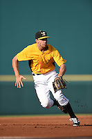 Bradenton Marauders third baseman Eric Wood (48) fields a ground ball during a game against the Palm Beach Cardinals on June 23, 2014 at McKechnie Field in Bradenton, Florida.  Bradenton defeated Palm Beach 11-6.  (Mike Janes/Four Seam Images)