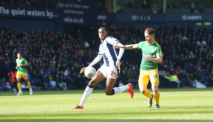 West Bromwich Albion's Tosin Adarabioyo and Preston North End's Sean Maguire<br /> <br /> Photographer Stephen White/CameraSport<br /> <br /> The EFL Sky Bet Championship - West Bromwich Albion v Preston North End - Saturday 13th April 2019 - The Hawthorns - West Bromwich<br /> <br /> World Copyright © 2019 CameraSport. All rights reserved. 43 Linden Ave. Countesthorpe. Leicester. England. LE8 5PG - Tel: +44 (0) 116 277 4147 - admin@camerasport.com - www.camerasport.com
