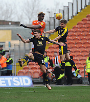 Blackpool's Armand Gnanduillet vies for possession with Oxford United's Luke Garbutt<br /> <br /> Photographer Kevin Barnes/CameraSport<br /> <br /> The EFL Sky Bet League One - Blackpool v Oxford United - Saturday 23rd February 2019 - Bloomfield Road - Blackpool<br /> <br /> World Copyright © 2019 CameraSport. All rights reserved. 43 Linden Ave. Countesthorpe. Leicester. England. LE8 5PG - Tel: +44 (0) 116 277 4147 - admin@camerasport.com - www.camerasport.com
