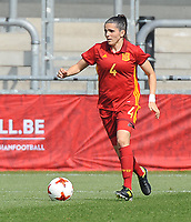 20170408 - EUPEN ,  BELGIUM : Spanish Andrea Pereira   pictured during the female soccer game between the Belgian Red Flames and Spain , a friendly game before the European Championship in The Netherlands 2017  , Saturday 8 th April 2017 at Stadion Kehrweg  in Eupen , Belgium. PHOTO SPORTPIX.BE | DIRK VUYLSTEKE