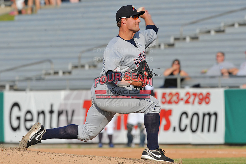 Huntsville Stars pitcher Brian Garman #29 delivers a pitch  during a game against the Tennessee Smokies at Smokies Park on August 12, 2012 in Kodak, Tennessee. The Smokies defeated the Stars 4-0. (Tony Farlow/Four Seam Images).