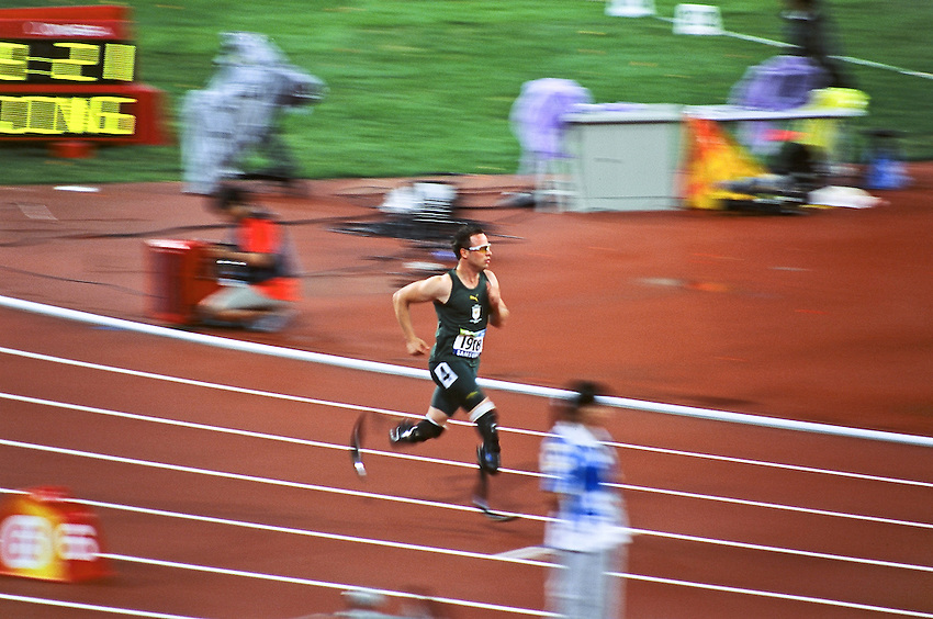 Paralympics Day 10 - Beijing 2008<br /> Oscar Pistorius - 400m final T44<br /> The south african athlete Oscar Pistorius before the 400 m final T44 that he will win in 47.49 sec, establishing a new world record in the Bird's Nest this September 16 2008.<br /> High resolution available