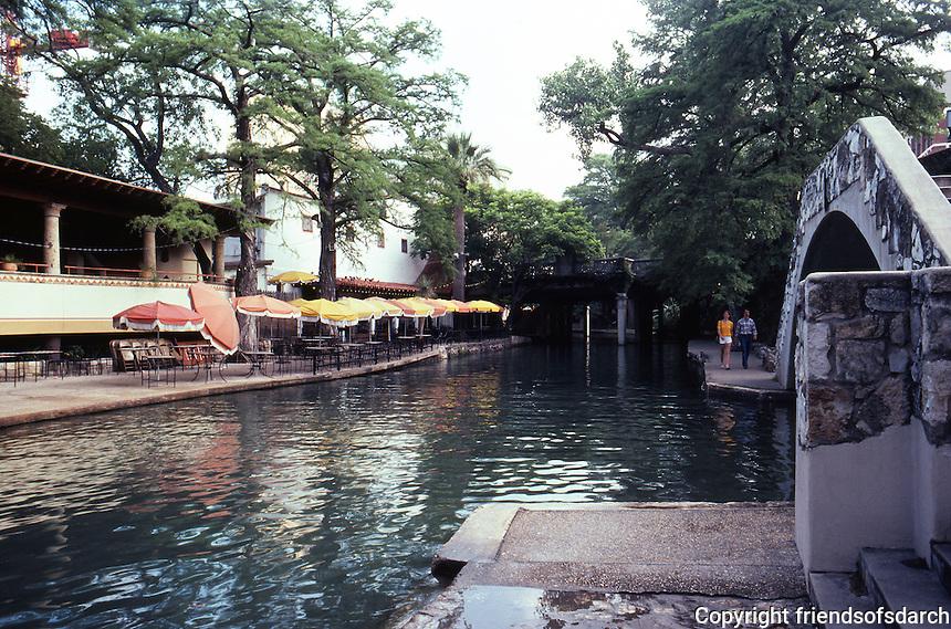 San Antonio:  Paseo del Rio from bridge. Caffe Michelio on left.   Photo '80.
