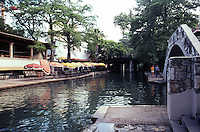 San Antonio:  Paseo del Rio from bridge. Caffe Michelio on left.   Photo '80.
