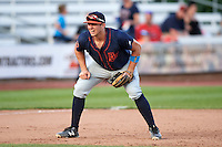 Bowing Green Hot Rods third baseman Kevin Padlo (11) during a game against the Quad Cities River Bandits on July 24, 2016 at Modern Woodmen Park in Davenport, Iowa.  Quad Cities defeated Bowling Green 6-5.  (Mike Janes/Four Seam Images)