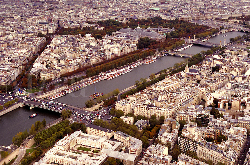 Seine River & Paris, France from the Eiffel Tower. Paris, France.