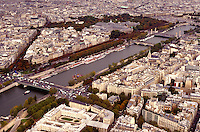 Seine River & Paris, France from the Eiffel Tower. Paris, France.