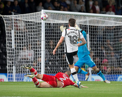 09.08.2016. iPro Stadium, Derby, England. Football League Cup 1st Round. Derby versus Grimsby Town. Derby County midfielder Jacob Butterfield takes a shot but the ball goes wide of the post