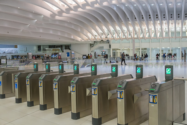 Turnstiles await passengers at the PATH station in the World Trade Center Transportation Hub in New York City.