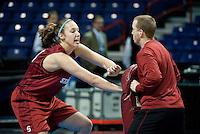 SPOKANE, WA - MARCH 25, 2011: Kayla Pedersen at the Stanford Women's Basketball, NCAA West Regionals practice at Spokane Arena on March 25, 2011.