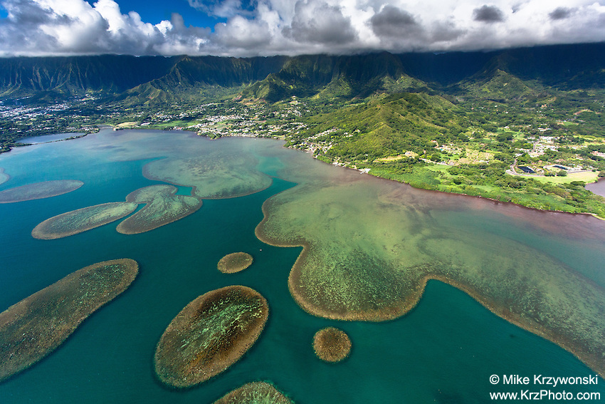 Aerial view of Kaneohe Bay at Waikane & Kahalu'u, Oahu