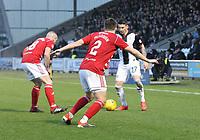 Darian MacKinnon and Aaron McGowan close down Adam Hammill in the St Mirren v Hamilton Academical Scottish Professional Football League Ladbrokes Premiership match played at the Simple Digital Arena, Paisley on 1.12.18.