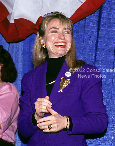 "Hillary Rodham Clinton, wife of Governor Bill Clinton (Democrat of Arkansas) attends a rally for her husband at Hesser Business College in Manchester, New Hampshire on February 17, 1992.  The Clintons were campaigning in advance of New Hampshire's ""First in the Nation"" presidential primary.<br /> Credit: Ron Sachs / CNP"