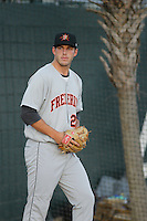 Frederick Keys pitcher John Means (25) before a game against the Myrtle Beach Pelicans at Ticketreturn.com Field at Pelicans Ballpark on April 8, 2016 in Myrtle Beach, South Carolina. Frederick defeated Myrtle Beach 5-2. (Robert Gurganus/Four Seam Images)
