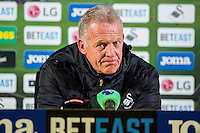 Alan Curtis, First-team coach of Swansea City talks at the post match press conference after the Premier League match between Swansea City and Bournemouth at The Liberty Stadium, Swansea, Wales, UK. Saturday 31 December 2016