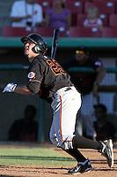 Bakersfield Blaze first baseman Stephen Hunt #29 bats against the High Desert Mavericks at Mavericks Stadium on July 17, 2011 in Adelanto,California. Bakersfield defeated High Desert 11-10.(Larry Goren/Four Seam Images)