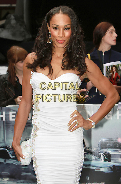 Jade Johnson.'The Dark Knight Rises' European premiere at Odeon Leicester Square cinema, London, England..18th July 2012.half ruched length white strapless clutch bag dress hand on hip .CAP/ROS.©Steve Ross/Capital Pictures.