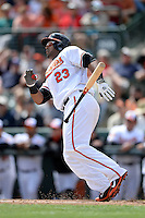 Baltimore Orioles outfielder Nelson Cruz (23) during a spring training game against the Philadelphia Phillies on March 7, 2014 at Ed Smith Stadium in Sarasota, Florida.  Baltimore defeated Philadelphia 15-4.  (Mike Janes/Four Seam Images)