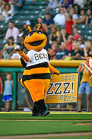 Salt Lake Bees mascot Bumble entertains the crowd during the game against the Tacoma Rainiers in Pacific Coast League action at Smith's Ballpark on July 23, 2016 in Salt Lake City, Utah. The Rainiers defeated the Bees 4-1. (Stephen Smith/Four Seam Images)